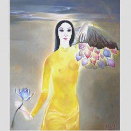 Lot 06: Dương Đình Sang   Thiếu nữ và hoa sen